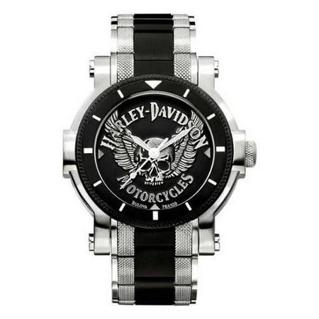 Men's Bulova Winged Skull Wrist Watch 78A109, Harley Davidson (Harley Genuine Watch)