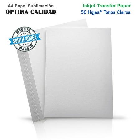 Pata Transfer (50X Hojas Papel Transfer para Camisetas de Algodon Blancas para Epson Ricoh Sawgrass A4 )