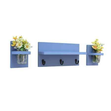 Three Piece Shelf Set with Sconces, Key Hooks & Mason Jars](Classroom Mailboxes)