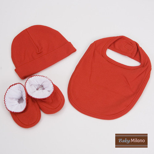 Baby Milano 3 Piece Baby Gift Set for Boy or Girl in Red
