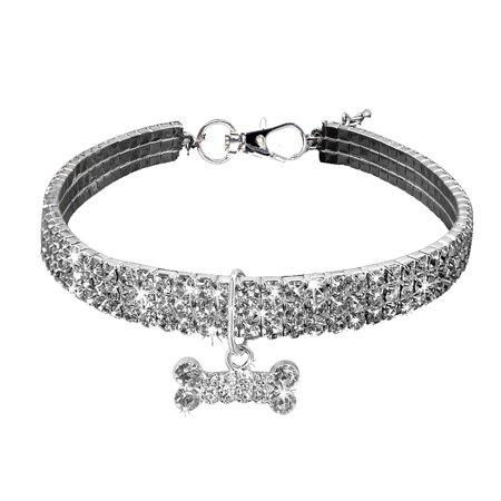 Iuhan Cute Mini Pet Dog Bling Rhinestone Chocker Collars Fancy Dog Necklace - Fancy Pet Collar