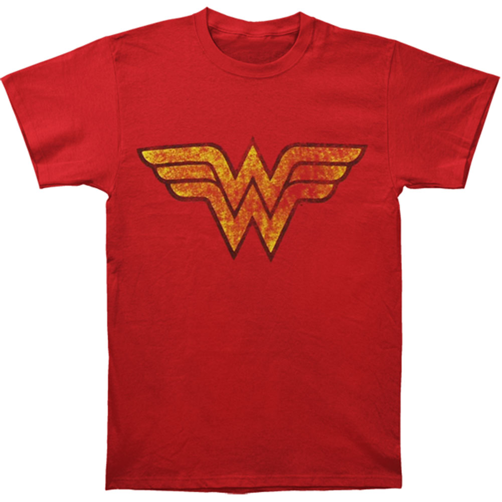 Wonder Woman Men's  Distressed Wonder Woman Logo T-shirt Red