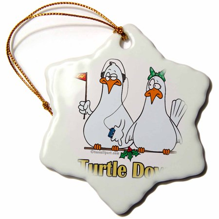 3dRose Two Turtle Doves, Snowflake Ornament, Porcelain, 3-inch