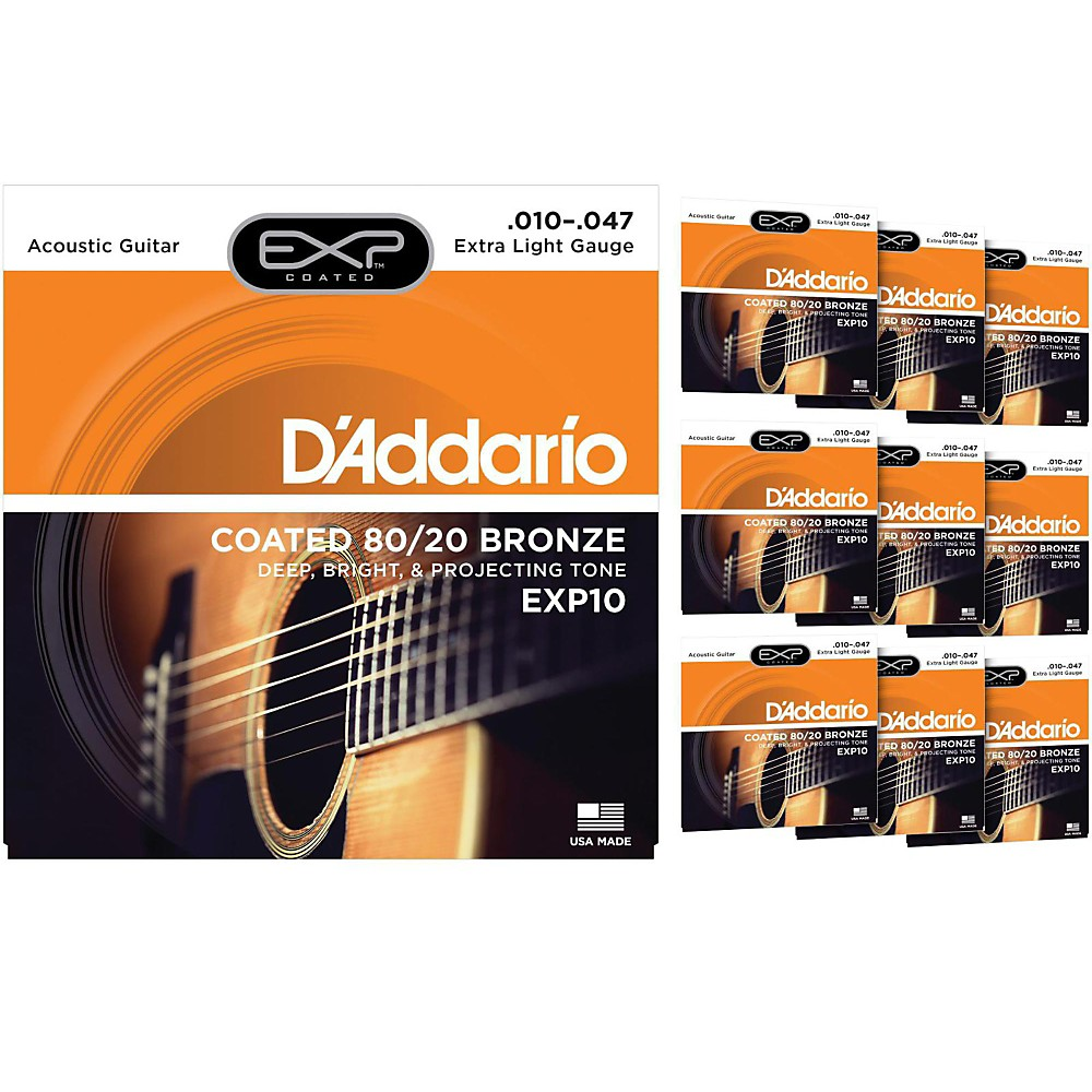 D'Addario EXP10 Coated 80 20 Bronze Extra Light Acoustic Guitar Strings 10 Pack by D'Addario