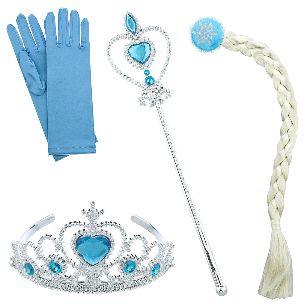 Lux Accessories Silver Tone Blue Halloween Ice Frozen Princess Costume Set 4PC