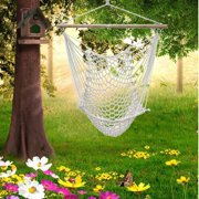 New Hanging Swing Garden Patio Hammock Chair Cotton Rope Wooden Bar White