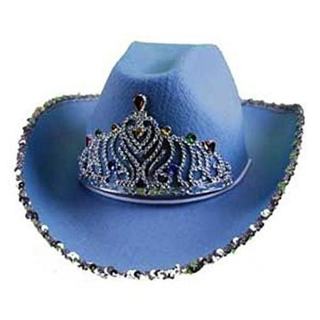 3cb361b0cb6 Cowboy Hat w Sequins   Tiara Blue - Walmart.com