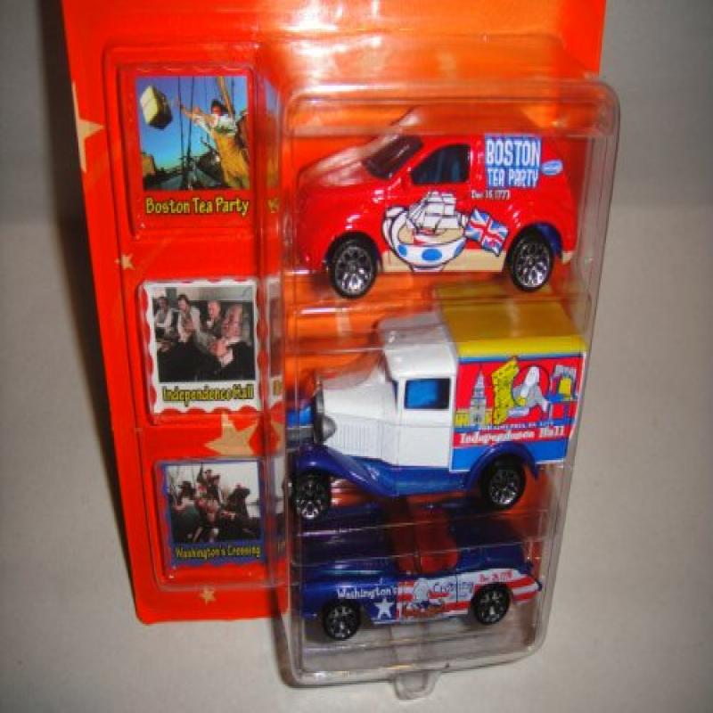 MATCHBOX AROUND THE WORLD COLLECTION HONOR AMERICA 3 PACK DIE-CAST CARS, BOSTON TEA PARTY PT CRUISER, INDEPENDENCE HALL FORD MADEL A AND WASHINGTONS CROSSING 1957 CORVETTE DIECAST