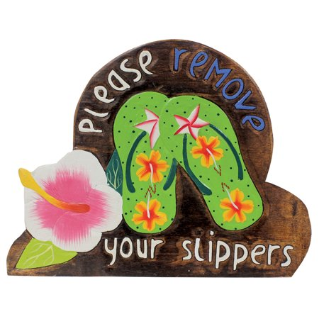Island Home Hawaiian Style Wood Sign Please Remove Your Shoes Slippers Hibiscus Green