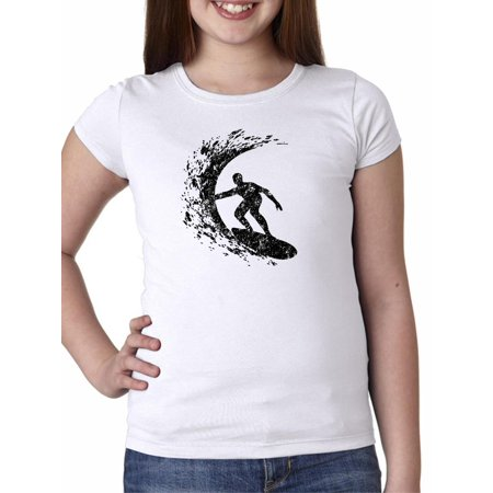 Big Girl Tube (Trendy Surfer Surfing Big Wave Tube Stencil Drawing Girl's Cotton Youth)