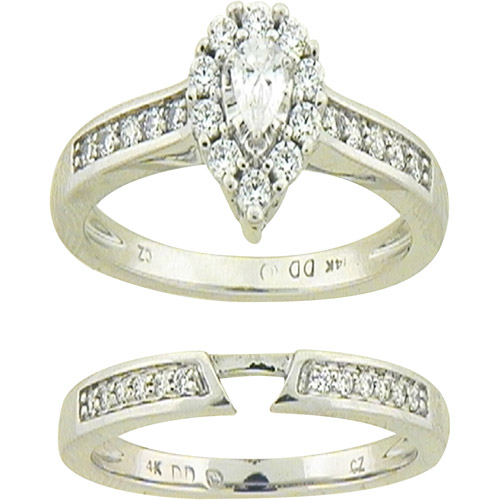 Pear-Shaped 1/2 Carat T.W. Diamond Bridal Set in 14kt White Gold, Size 7
