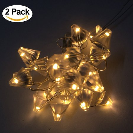 2 packs led string fairy lights battery operated diamond shape adaina silver wire for bedroom christmas