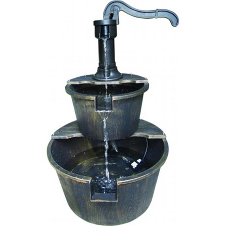 Image of Alpine TIZ194BZ 27 inch Two Tier Barrel & Pump Fountain - Bronze