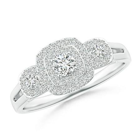 April Birthstone Ring - Cushion Framed Diamond Three Stone Halo Engagement Ring in Platinum (3.3mm Diamond) - SR1522D-PT-HSI2-3.3-10