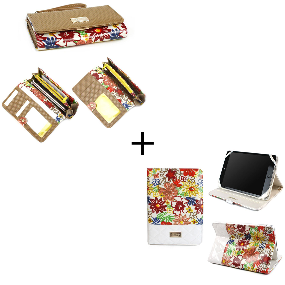 Bundle Set - Floral Clutch Wallet for Smartphones and Folio Case for the iPad Mini, with Retina (Beige)