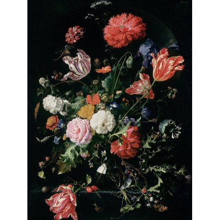Dutch Flour - Flowers in a Glass Vase, C.1660 Dutch Baroque Dark Flower Floral Painting Print Wall Art By Jan Davidsz. de Heem