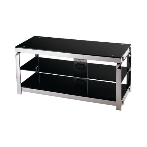 Lite Source LSH-5614 3 Tier TV Stand Silver Chrome   Black glass from the Enzo C by Lite Source