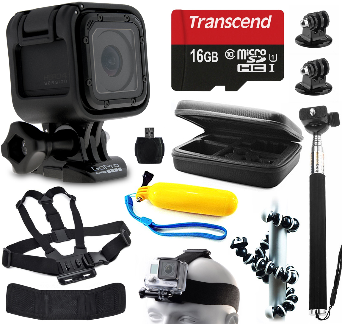 GoPro HERO4 Session HD Action Camera (CHDHS-101) with 11 Piece Accessories Bundle includes 16GB Card + Selfie Stick + Case + Head/Chest Strap + Floating Bobber + Octopus Tripod + Card Reader + More