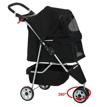 Pet Stroller Cat Dog Cage 3 Wheels Stroller Travel Folding Carrier