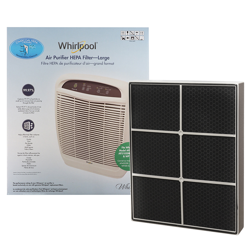 Whirlpool Air Purifier True HEPA and Charcoal Combined 2-in-1 Filter Large 1183054KC, Upgrade Version