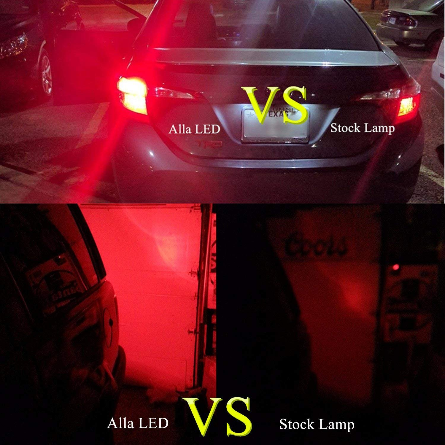 Truck Syneticusa 3156 3157 Red LED Strobe Brake Lights Bulbs Super Bright Wedge High Power 3535 LED 12V Flashing Strobe Stop Lights Replacement for Cars