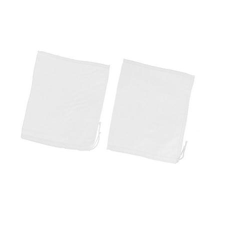 2 Pcs Drawstring Seal Soup Food Filter Mesh Bag 23cm x 18cm White