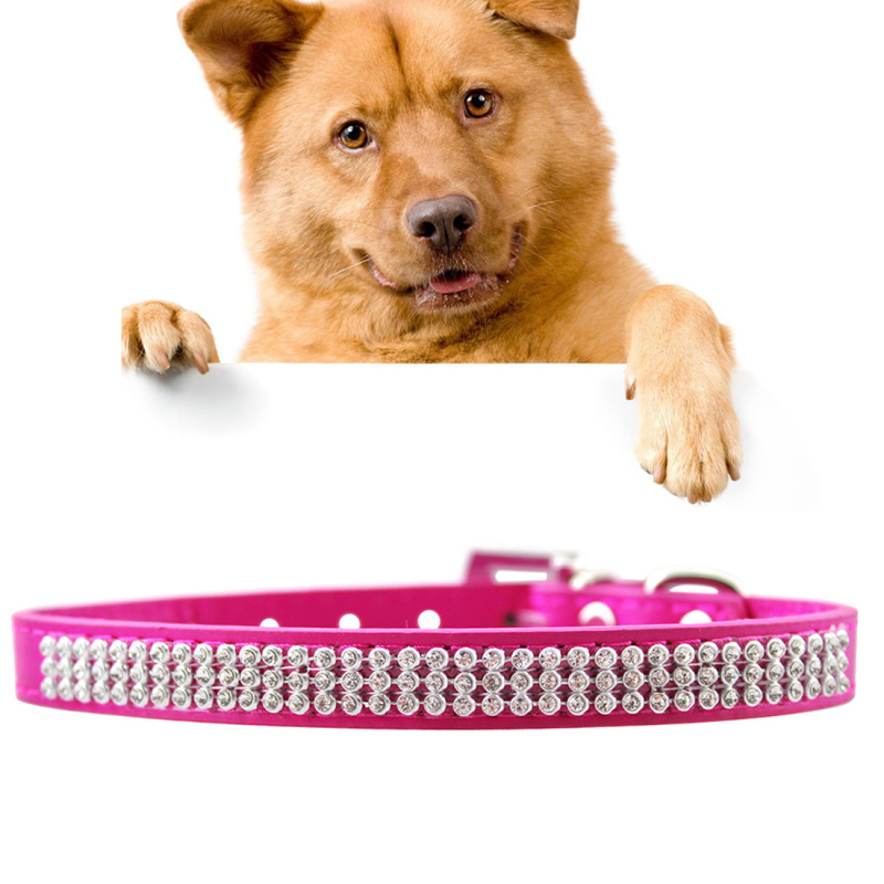 Dog Collar PU Diamond Studded Pet Neck Collar with Metal D Ring, Buckle, Size: Large, 2.5 x 51cm - Magenta