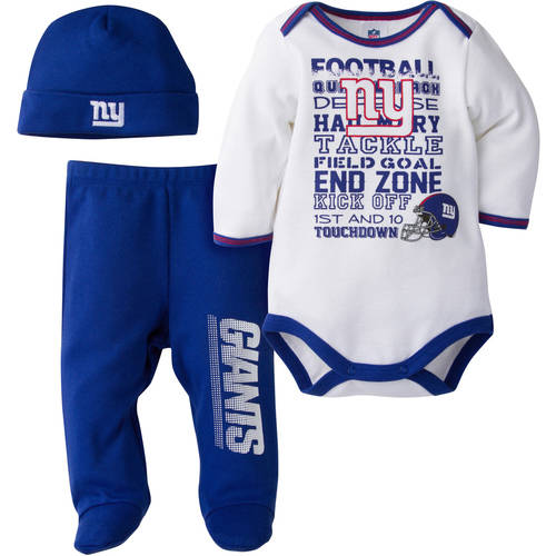 NFL New York Giants Baby Boys Bodysuit, Pant and Cap Outfit Set, 3 - Piece