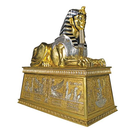 Architectural Sculpture (Massive Egyptian Architectural Sculpture Gilded Sphinx Statue Atop a Egyptian...)