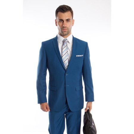 Mens Suit Two Piece Slim Fit Solid Notch Lapel Tuxedo