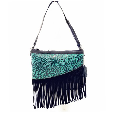 Bag Western Tooled Leather - Handcrafted Leather Western Floral Tooled Womens Fringe Clutch Crossbody Bag
