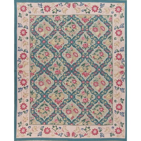 RugSelect Aubusson Chinese Green Hand Woven Area Rug Wool 8x10