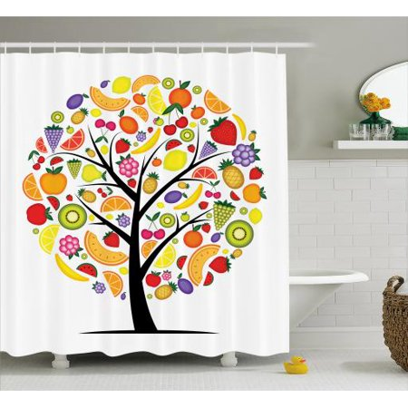Fruit Shower Curtain Colorful Tree Silhouette With A Variety Of Vegetarian Options Banana Orange