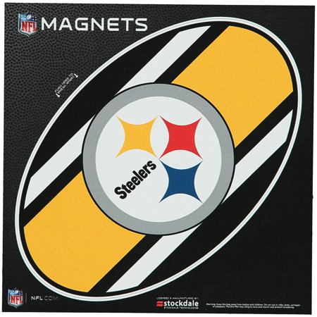 "Pittsburgh Steelers Stripe 6"" x 6"" Oval Full Color Magnet - No Size"