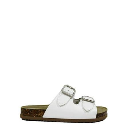 Wonder Nation Footbed Slide Sandal (Little Girls & Big Girls) (White Jordan Sandals)