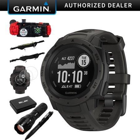 Garmin Instinct Rugged Outdoor Watch w/ GPS & Heart Rate Monitoring, Graphite +Accessories Bundle Includes, Tactical Emergency Bracelet, Tactical Flashlight & Pen Set w/Case, Zippered Waist Bag +More Graphite Heart Rate Monitor