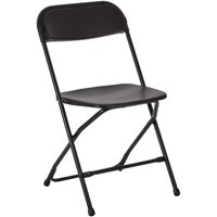 Black Powder Coated Frame and Plastic Folding Chair, 4 per Carton