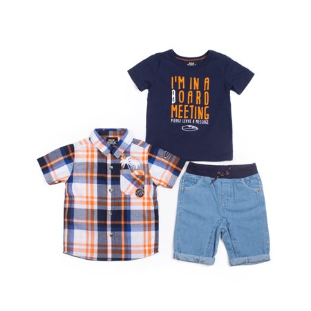 Baby Toddler Boy Short Sleeve Plaid Woven Shirt, T-shirt & Denim Shorts, 3pc Outfit Set