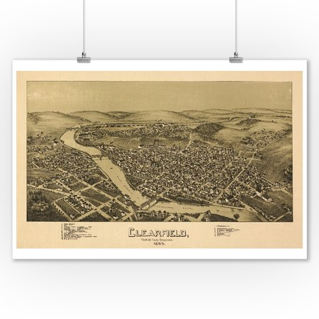Clearfield  Pennsylvania   Panoramic Map  9X12 Art Print  Wall Decor Travel Poster