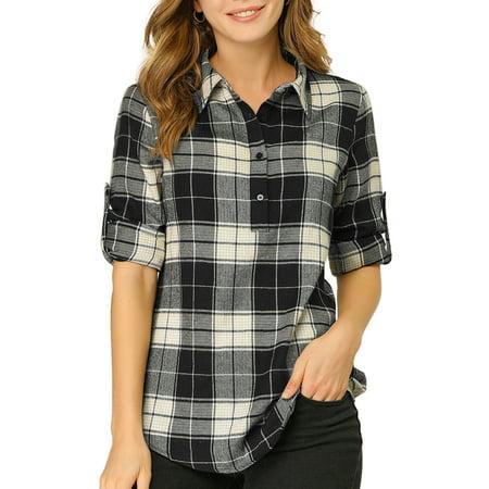 Allegra K Junior's Roll Up Sleeve Half Placket Plaid Button Shirt