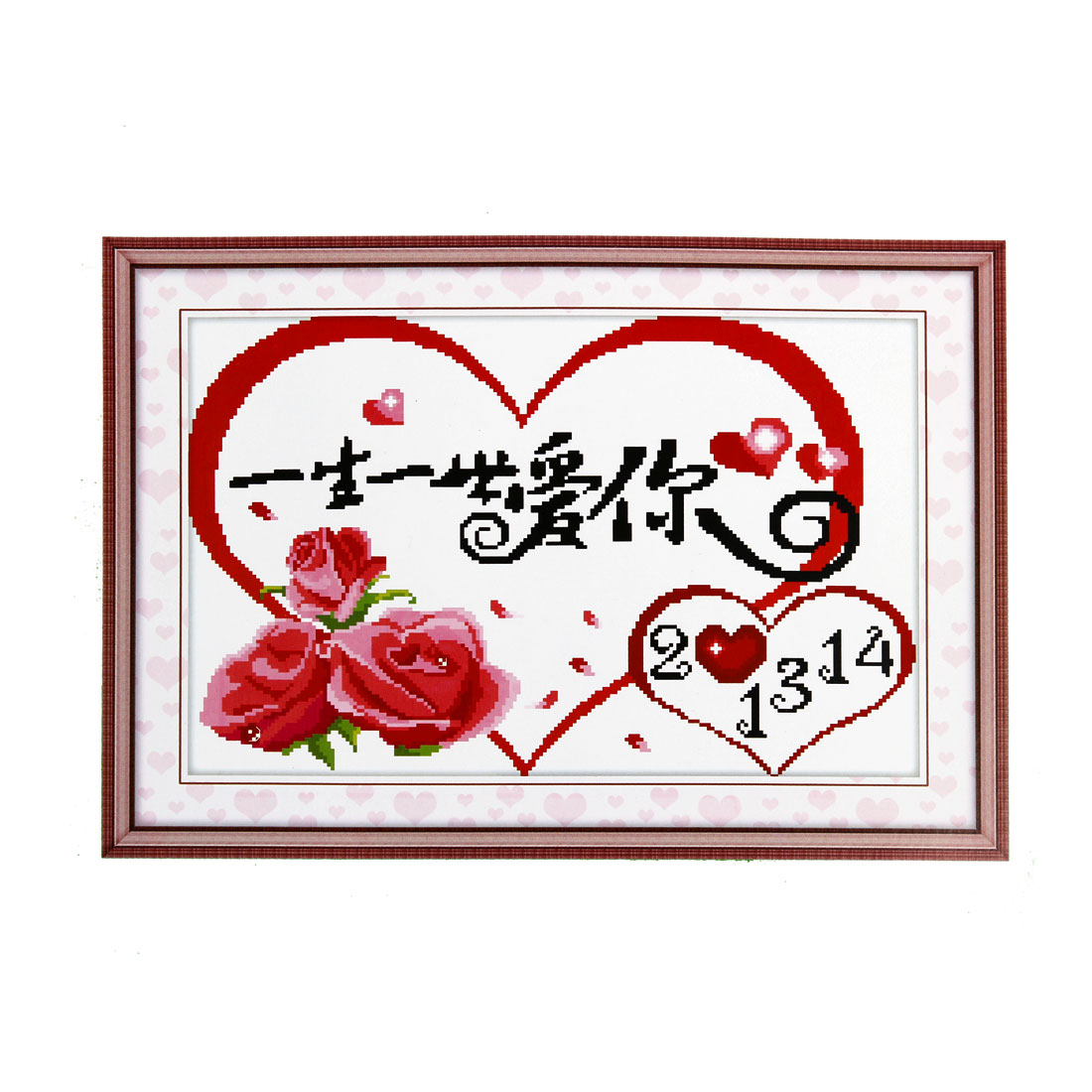 Rose Heart Love Word Pattern Stamped Cross Stitch Counted Kit for Lady Woman