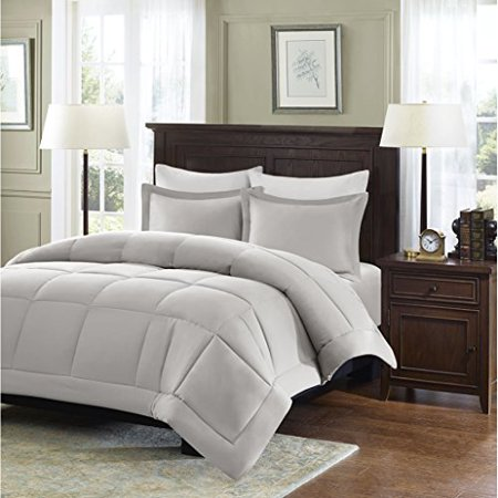 Madison Park Sarasota All Season Microcell Down Alternative Box Quilted Comforter Mini Set, King/Cal King, Grey - image 4 of 4