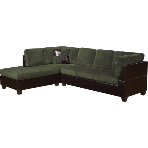 Connell Collection Corduroy and Faux Leather Sectional Sofa, Olive Gray
