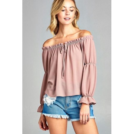 6b6347e63a51a Marcelle Margaux - Women s Puff Long Sleeve Ruffled Front Tie Off Shoulder  Top - Walmart.com
