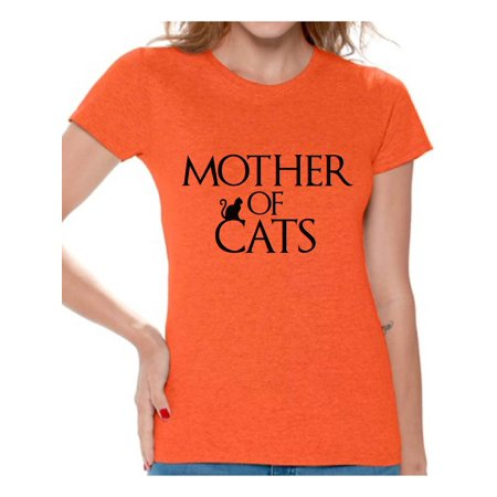 Awkward Styles Women's Mother Of Cats Fun Graphic T-shirt Tops Pet Lover Gift