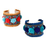 Shop LC Delivering Joy Set of 2 Red Blue Beads Threads Cuff Bracelet Bangle in Silvertone Jewelry Graduation Gifts for Her Women