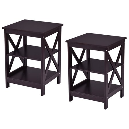 Costway 2PC 3-Tier Nightstand End Table Storage Display Shelf Living Room Furni - Storage Espresso End Tables