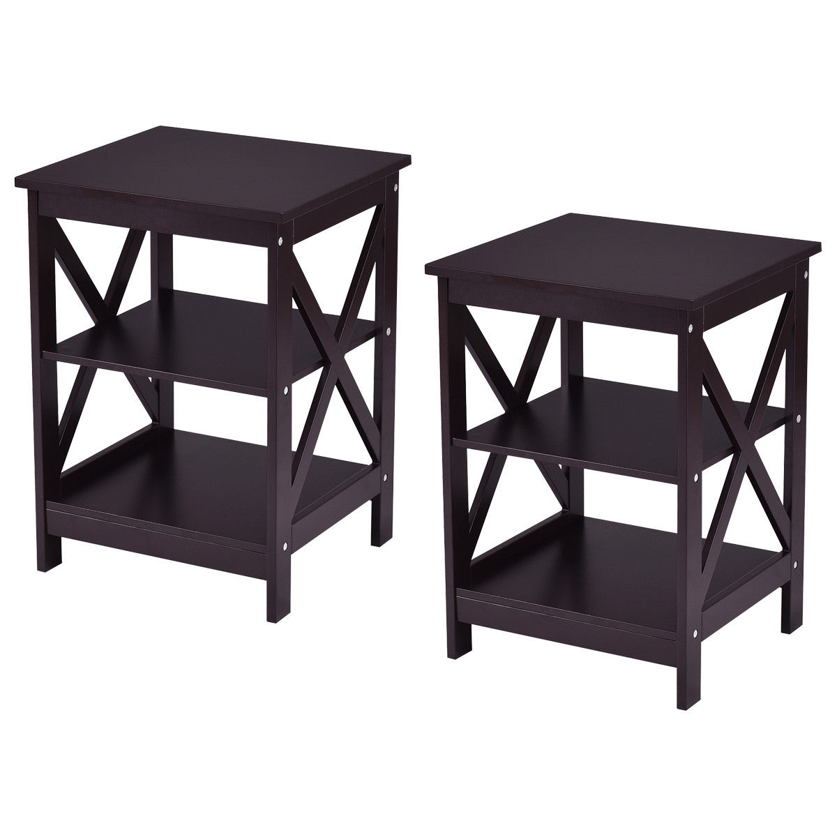 Costway 2PC 3-Tier Nightstand End Table Storage Display Shelf Living Room Furni Espresso