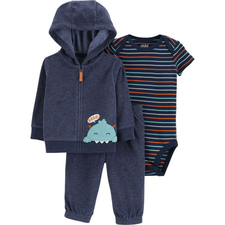 Child of Mine by Carter's Hooded Cardigan, Short Sleeve Bodysuit & Pants, 3-Piece Outfit Set (Baby Boys) - Mime Outfit