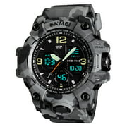 SKMEI 1155B Quartz Digital Electronic Men Watch Fashion Casual Outdoor Sports Male Wristwatch Dual Time Date Week Chrono Alarm 5ATM Waterproof Luminous Multifunctional Watches Relogio Masculino